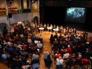 Een volle zaal tijdens het verkiezingsdebat op 19 februari