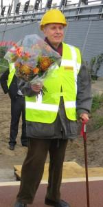 """Wim bij het gereedkomen van """"zijn"""" fietsbrug op 28 oktober 2013"""